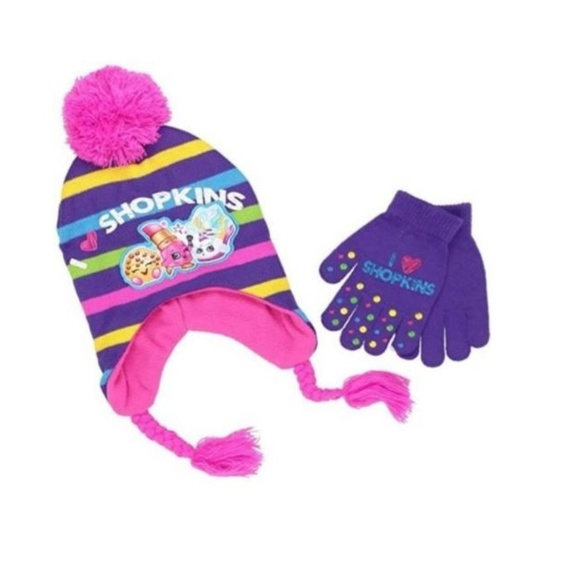 60180a0776e I love SHOPKINS Winter HAT stocking cap gloves